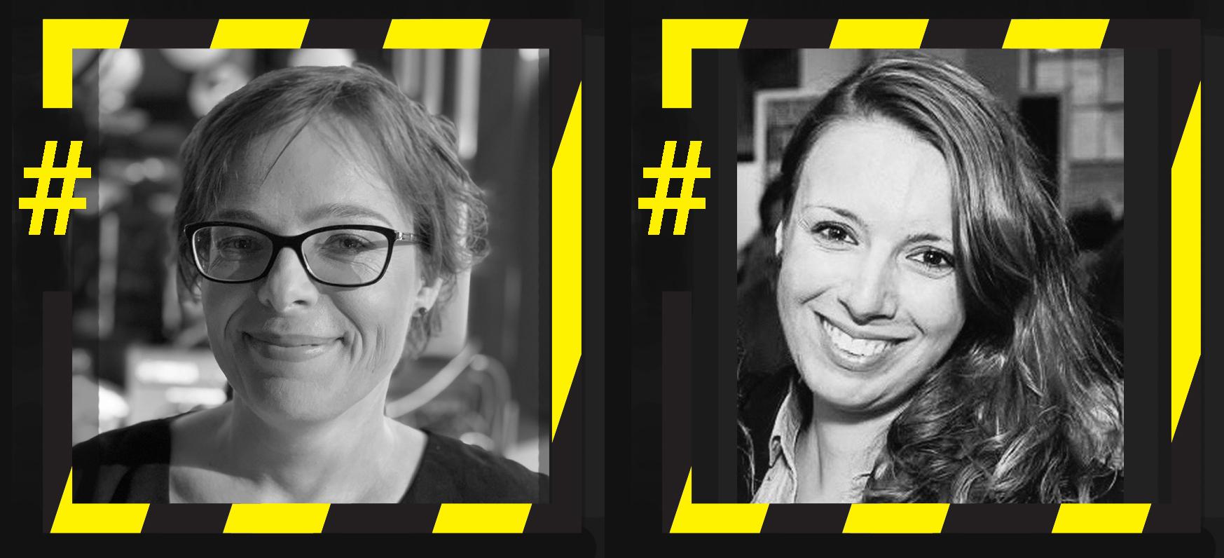 """Dwa czarno białe zdjęcia dwóch kobiet ułożone obok siebie. Każde ze zdjęć jest w kwadratowej, czarno-żółtej ramce, przypominającej taśmę ostrzegawczą. Z lewej strony każda ramka jest przerwana a w przerwie znajduje się żółty znaczek """"hasztag"""". Na pierwszym zdjęciu twarz uśmiechniętej, krótkowłosej kobiety około trzydziestki. Kobieta ma okulary, patrzy w obiektyw. Na zdjęciu jest Joanna Ciesielska. Na drugim zdjęciu widać twarz uśmiechniętej młodej kobiety o długich włosach, w koszuli z kołnierzykiem. Kobieta patrzy w obiektyw. Na zdjęciu jest Magda Schromová."""